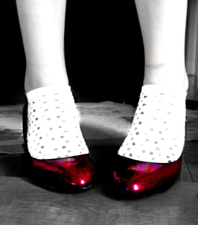 Red shoes like Dorothy's in the Wizard of Oz