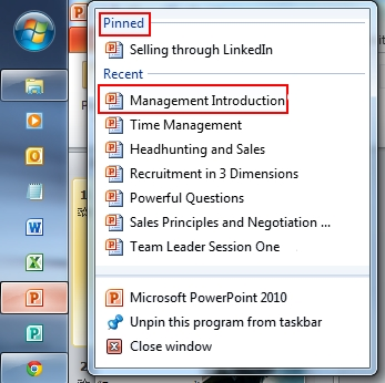 Screenshot of how to pin a file to the toolbar in Windows 7 - which also lists a few of the courses that Edenchanges runs