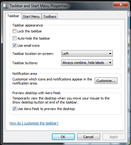 Windows & Task bar properties menu - activate it by right clicking on the Windows 7 taskbar