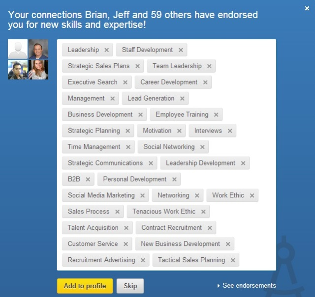 Image showing the LinkedIn endorsements that you can be given by your connections