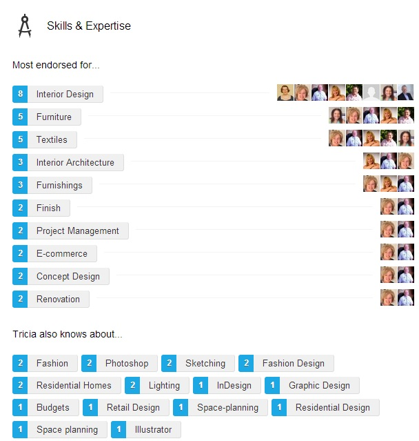 LinkedIn Skills screen shot