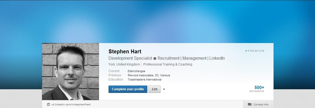 Step three with LinkedIn Background feature