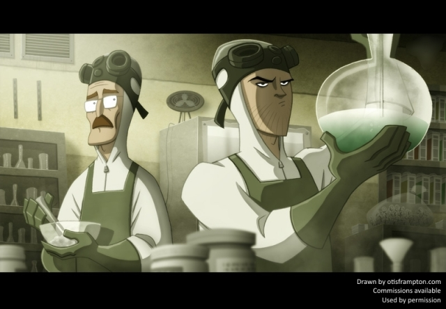 Picture of Jesse and Walter White working in their meth lab